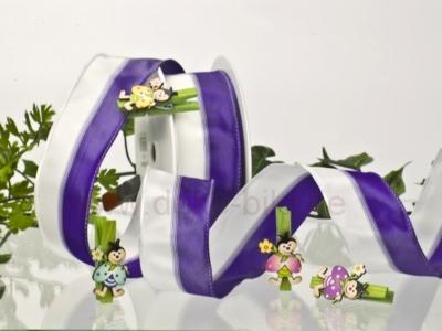 Streifenband - weiß-violett - 40mm - 20m - mD