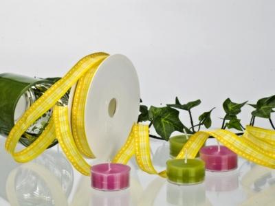 Dekoband - gelb-weiß - 15mm - 20m - mD