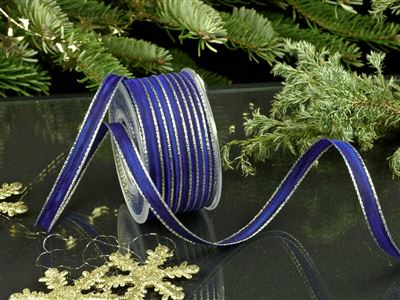 Weihnachtsuniband blau -10mm-25m-md