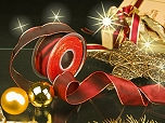 Weihnachtsuniband - 40mm - 25m - weinrot-gold