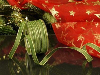 Weihnachtsuniband grün -10mm-25m-md