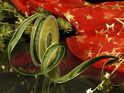 Weihnachtsuniband grün -15mm-25m-md
