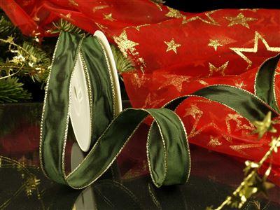 Weihnachtsuniband grün -25mm-25m-md