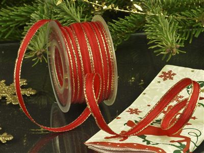 Weihnachtsuniband rot -10mm-25m-md
