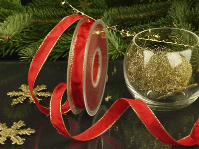 Weihnachtsuniband rot -15mm-25m-md