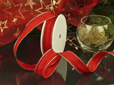 Weihnachtsuniband rot -25mm-25m-md